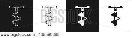 Set Hand Ice Drill For Winter Fishing Icon Isolated On Black And White Background. Vector