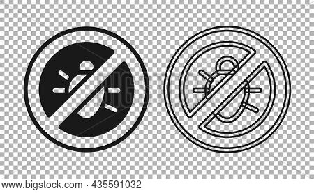 Black Stop Colorado Beetle Icon Isolated On Transparent Background. Vector