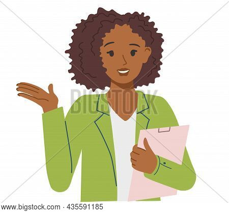 African-american Girl With A Folder Or Tablet In Office Clothes Serves Clients. Illustration On The