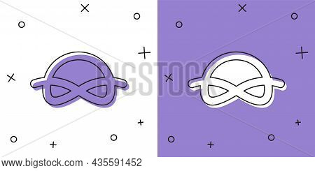 Set Nautical Rope Knots Icon Isolated On White And Purple Background. Rope Tied In A Knot. Vector