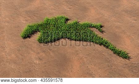 Concept or conceptual green summer lawn grass symbol shape on brown soil or earth background, sign of a horse rider. 3d illustration metaphor for sport, competition,  relaxation,  hobby and fun