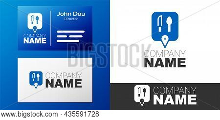 Logotype Cafe And Restaurant Location Icon Isolated On White Background. Knife And Spoon Eatery Sign