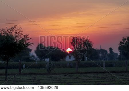 Morning Sunrise View And Beautiful Landscape Agricultural Fields .  Save Download Preview Gorgeous P