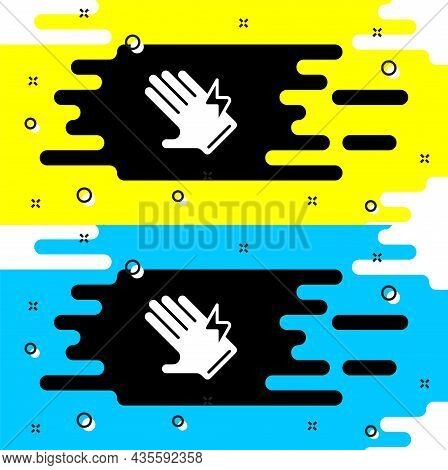 White Electric Glove Icon Isolated On Black Background. Safety Gloves, Hand Protection. Vector