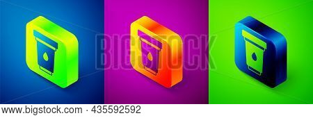 Isometric Water Filter Cartridge Icon Isolated On Blue, Purple And Green Background. Square Button.