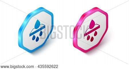 Isometric Water Filter Cartridge Icon Isolated On White Background. Hexagon Button. Vector