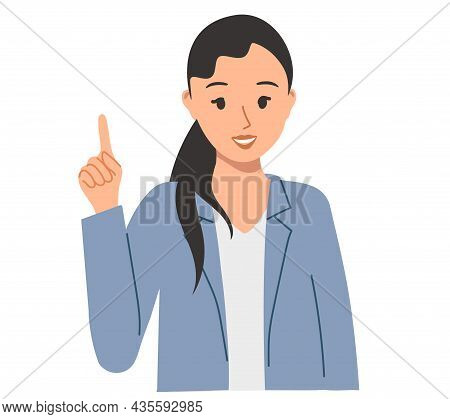 Pretty Girl Raised Her Index Finger Up. Illustration On Inspiration And Ideas For Business, Marketin