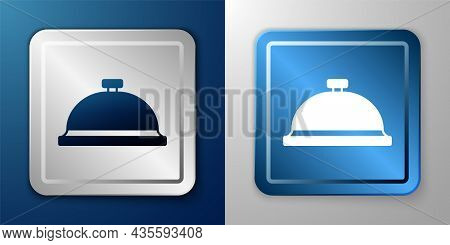 White Covered With A Tray Of Food Icon Isolated On Blue And Grey Background. Tray And Lid Sign. Rest