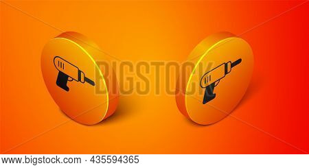 Isometric Electric Drill Machine Icon Isolated On Orange Background. Repair Tool. Orange Circle Butt