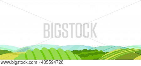Rural Landscape With Garden Farmer Hills. Cute Funny Cartoon Design. Horizontally Background Seamles