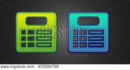 Green And Blue Train Station Board Icon Isolated On Black Background. Mechanical Scoreboard. Info Of