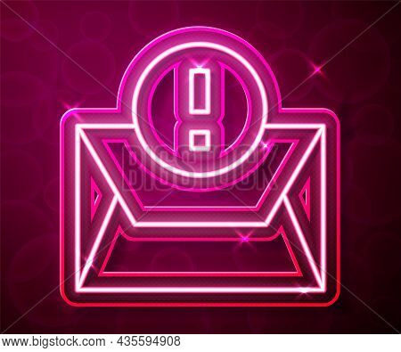 Glowing Neon Line Envelope Icon Isolated On Red Background. Received Message Concept. New, Email Inc