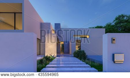 3D rendering of a big contemporary white villa with impressive garden and pool in the evening