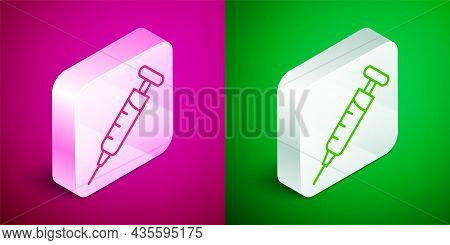Isometric Line Syringe Icon Isolated On Pink And Green Background. Syringe For Vaccine, Vaccination,