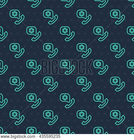 Green Line Telephone With Emergency Call 911 Icon Isolated Seamless Pattern On Blue Background. Poli
