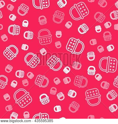 White Line Wicker Basket Icon Isolated Seamless Pattern On Red Background. Vector