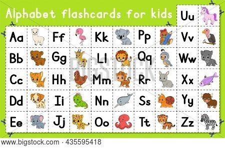 English Alphabet With Cartoon Characters. Vector Set. Bright Color Style. Learn Abc. Lowercase And U