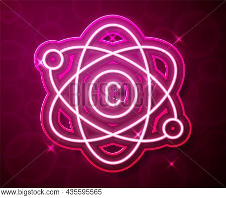 Glowing Neon Line Atom Icon Isolated On Red Background. Symbol Of Science, Education, Nuclear Physic