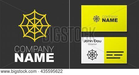 Logotype Line Spider Web Icon Isolated On Grey Background. Cobweb Sign. Happy Halloween Party. Logo