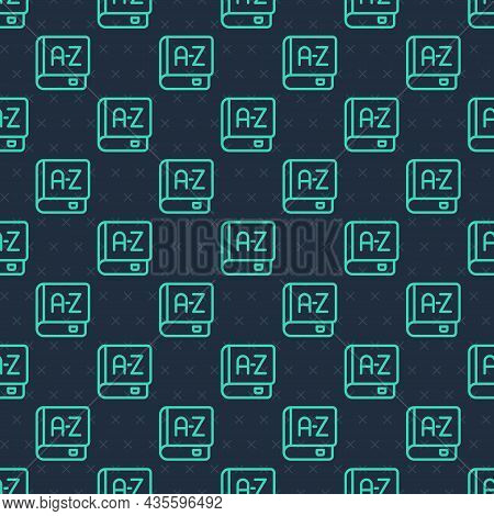 Green Line Translator Book Icon Isolated Seamless Pattern On Blue Background. Foreign Language Conve