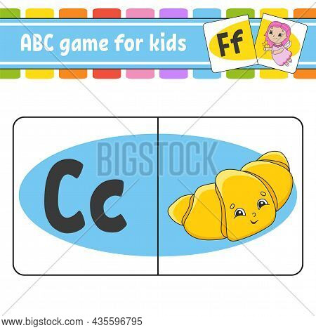 Abc Flash Cards. Alphabet For Kids. Learning Letters. Education Worksheet. Activity Page For Study E
