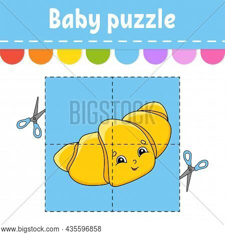 Baby Puzzle. Easy Level. Flash Cards. Cut And Play. Color Activity Worksheet. Game For Children. Car