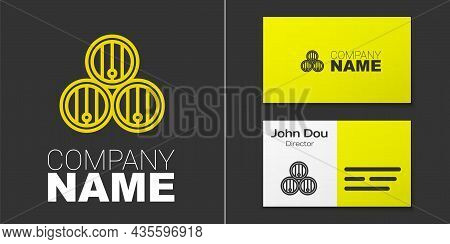 Logotype Line Wooden Barrel Icon Isolated On Grey Background. Alcohol Barrel, Drink Container, Woode