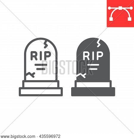 Tombstone Line And Glyph Icon, Holiday And Halloween, Rip Grave Vector Icon, Vector Graphics, Editab