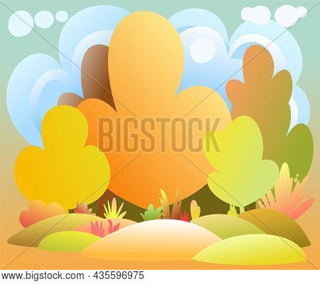 Flat Autumn Forest. Landscape With Trees. Illustration In A Simple Symbolic Style. A Funny Scene. Co