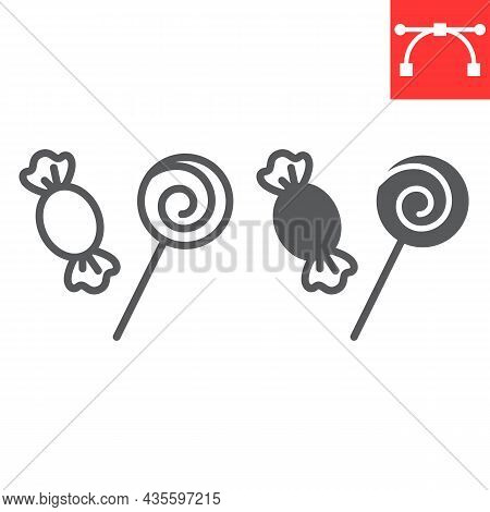 Candy And Lollipop Line And Glyph Icon, Holiday And Dessert, Candies Vector Icon, Vector Graphics, E
