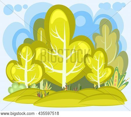 Flat Autumn Forest. Beautiful Landscape With Trees. Sky. Illustration In A Simple Symbolic Style. A