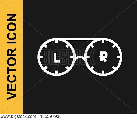 White Line Contact Lens Container Icon Isolated On Black Background. Eyesight Care, Lens Hygiene Con