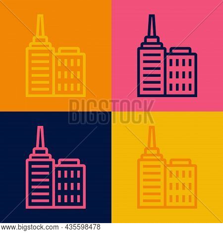 Pop Art Line City Landscape Icon Isolated On Color Background. Metropolis Architecture Panoramic Lan