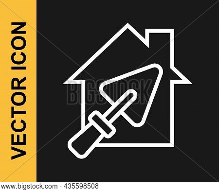 White Line House Or Home With Trowel Icon Isolated On Black Background. Adjusting, Service, Setting,