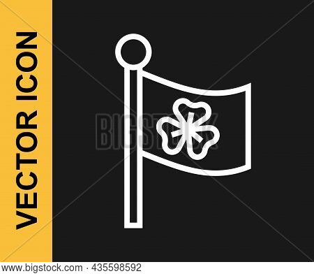White Line National Ireland Flag With Clover Trefoil Leaf Icon Isolated On Black Background. Happy S