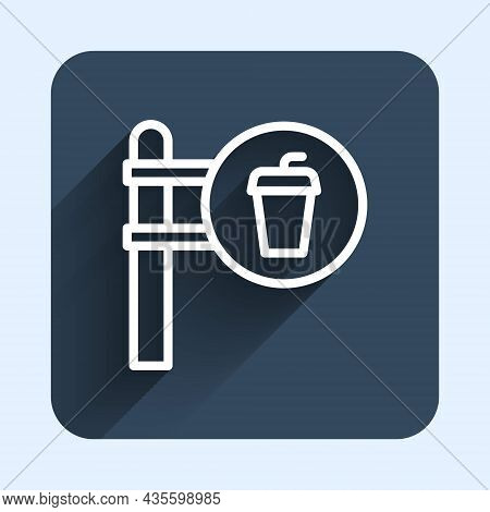 White Line Cafe And Restaurant Location Icon Isolated With Long Shadow Background. Fork And Spoon Ea