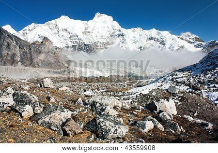 Hungchhi peak and Chumbu peak from Cho Oyu base camp - trek to Everest base camp - Nepal