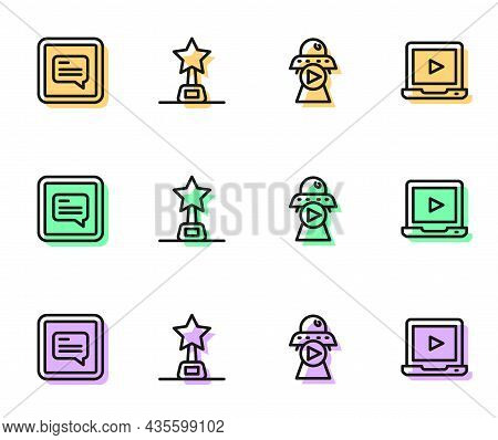 Set Line Science Fiction, Video With Subtitles, Movie Trophy And Online Play Video Icon. Vector
