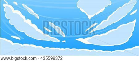 Sky Clouds Panorama. Illustration In Cartoon Style Flat Design. Heavenly Atmosphere. Vector