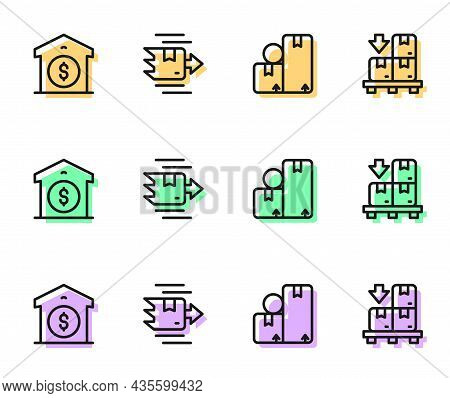 Set Line Carton Cardboard Box, Warehouse Price, And Cardboard Boxes Pallet Icon. Vector