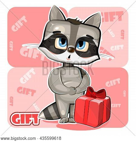Little Baby Raccoon Received Gift. Red Box With Ribbon And Bow. He Is Embarrassed To Take. Childrens