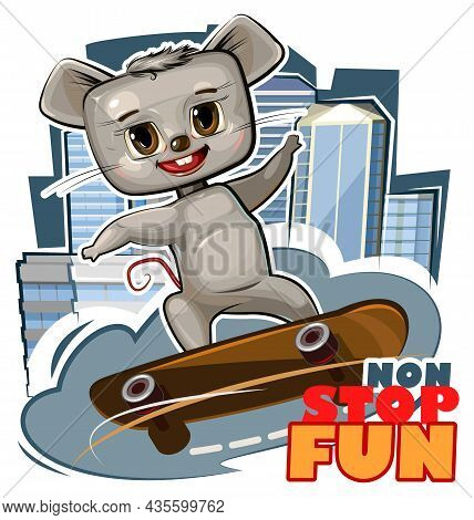 Little Mouse On Skateboard. Cartoon Style. Childrens Urban Sports Non Stop. Cute Baby Skater Rides O