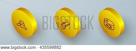 Set Isometric Line Fisherman Hat, Oars Or Paddles Boat And Canned Fish Icon. Vector