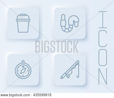 Set Line Fishing Bucket, Worm, Compass And Rod. White Square Button. Vector