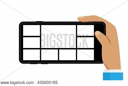 Smartphone Screen With Collage Grid Template In Hand, Hand Holding Mobile Phone With White Screen, S