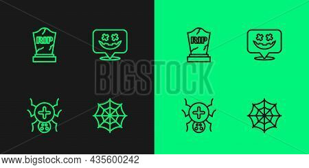 Set Line Spider Web, Tombstone With Rip Written And Happy Halloween Holiday Icon. Vector