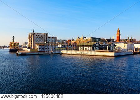 Helsingborg City In Sweden View From The Sea . Swedish Coast  And Oresund Strait