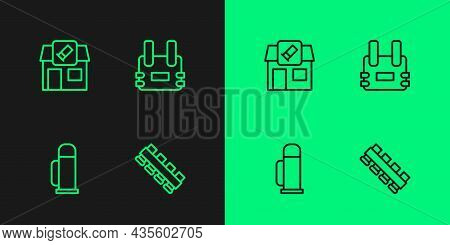 Set Line Hunting Cartridge Belt, Thermos Container, Shop And Bulletproof Vest Icon. Vector