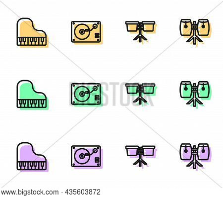 Set Line Bongo Drum, Grand Piano, Vinyl Player With Vinyl Disk And Conga Drums Icon. Vector