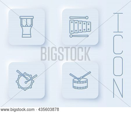 Set Line African Percussion Drum, Xylophone, Drum With Sticks And . White Square Button. Vector